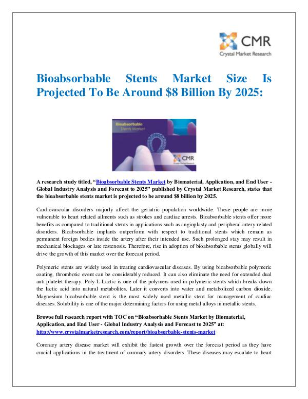 Market Research Reports- Consulting Analysis Crystal Market Research Bioabsorbable Stents Market