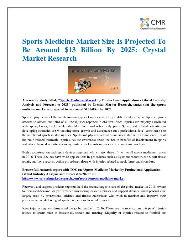 Market Research Reports- Consulting Analysis Crystal Market Research Sports Medicine Market