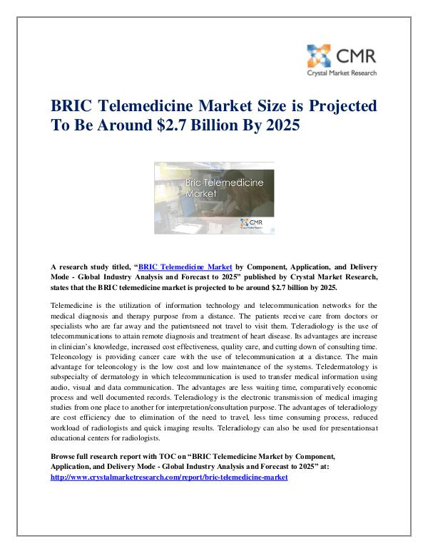 Market Research Reports- Consulting Analysis Crystal Market Research BRIC Telemedicine Market