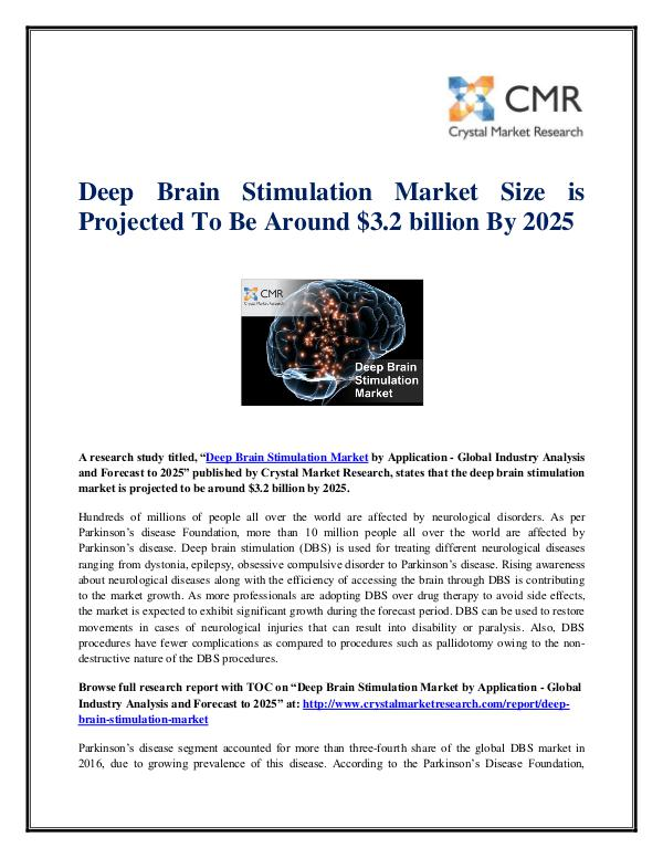 Market Research Reports- Consulting Analysis Crystal Market Research Deep Brain Stimulation Market