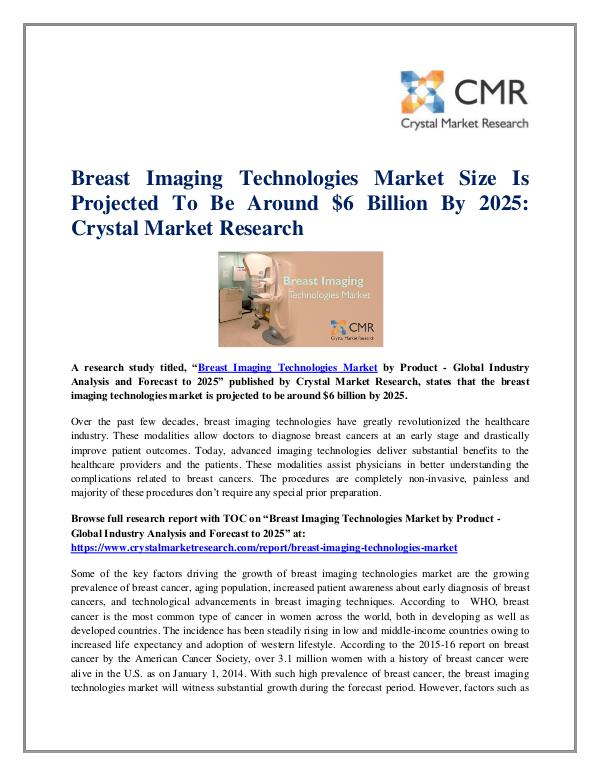 Market Research Reports- Consulting Analysis Crystal Market Research Breast Imaging Technologies Market