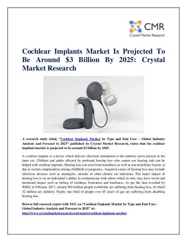 Market Research Reports- Consulting Analysis Crystal Market Research Cochlear Implants Market