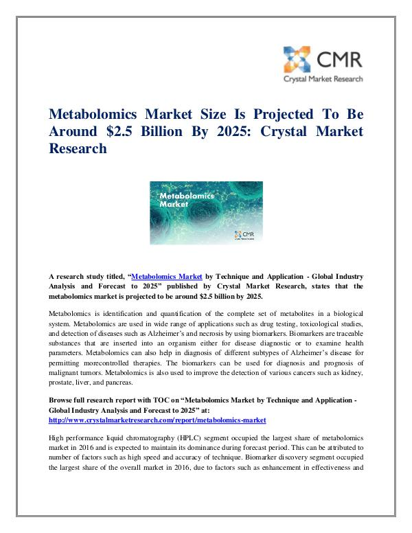 Market Research Reports- Consulting Analysis Crystal Market Research Metabolomics Market