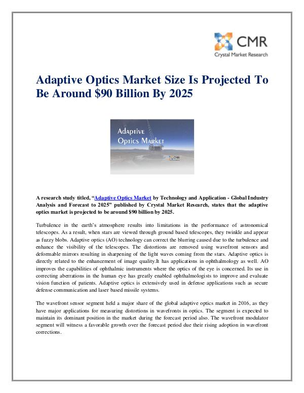 Market Research Reports- Consulting Analysis Crystal Market Research Adaptive Optics Market
