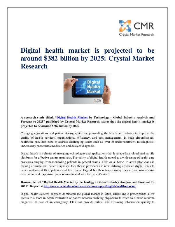 Market Research Reports- Consulting Analysis Crystal Market Research Digital Health Market