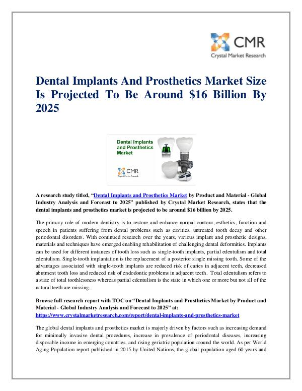 Market Research Reports- Consulting Analysis Crystal Market Research Dental Implants and Prosthetics Market