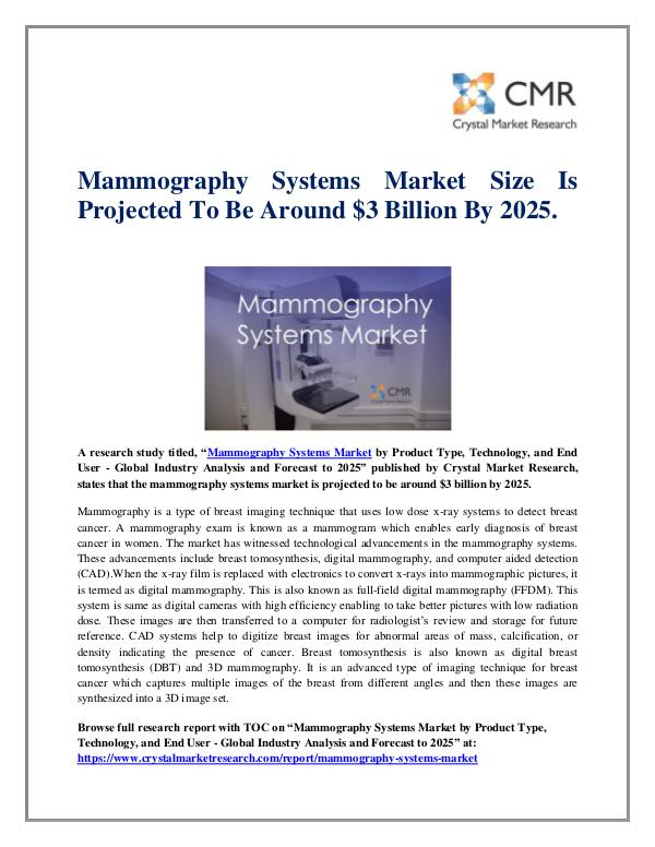 Market Research Reports- Consulting Analysis Crystal Market Research Mammography Systems Market