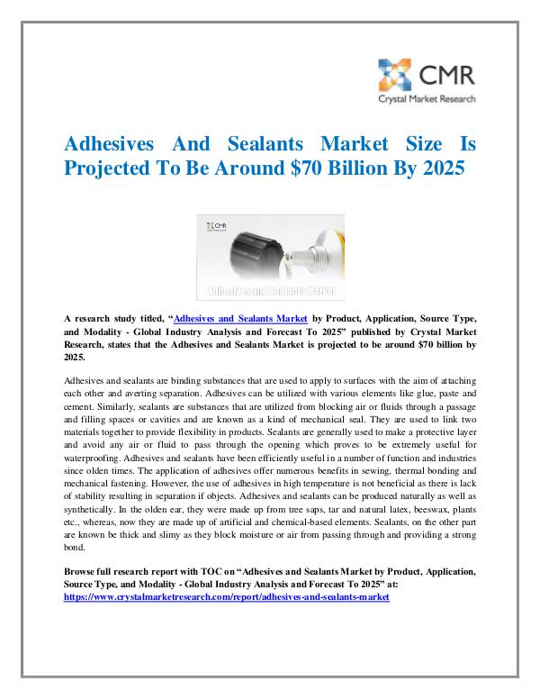 Market Research Reports- Consulting Analysis Crystal Market Research Adhesives and Sealants Market