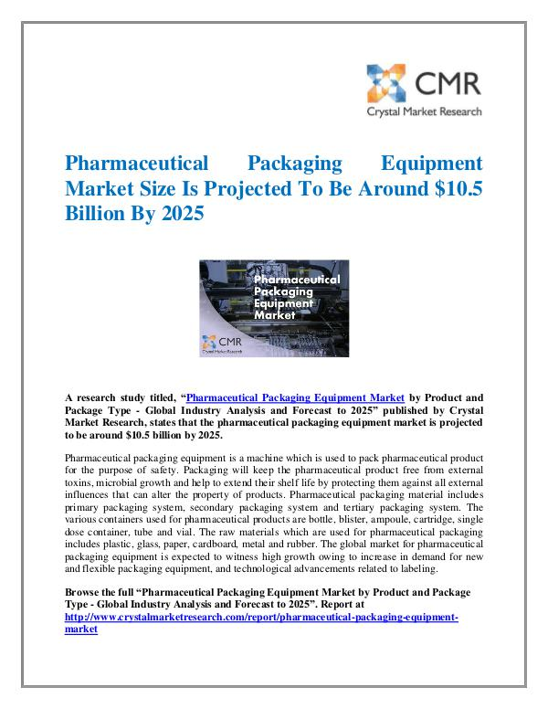Market Research Reports- Consulting Analysis Crystal Market Research Pharmaceutical Packaging Equipment Market
