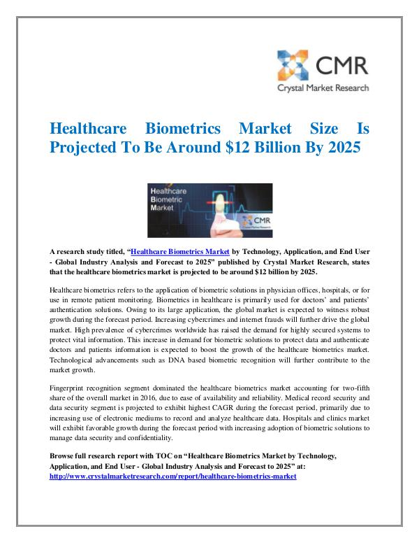 Market Research Reports- Consulting Analysis Crystal Market Research Healthcare Biometrics Market