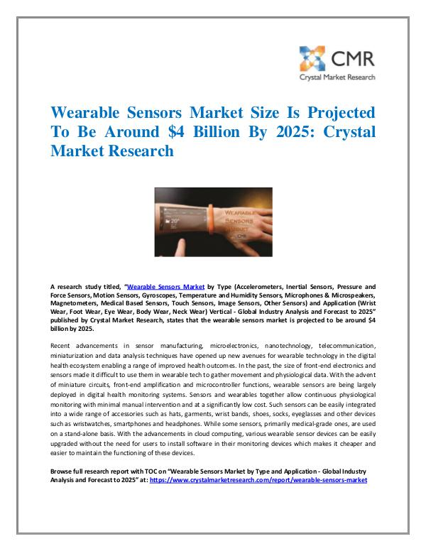 Market Research Reports- Consulting Analysis Crystal Market Research Wearable Sensors Market