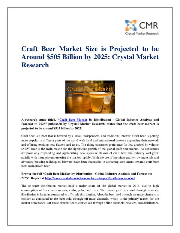 Market Research Reports- Consulting Analysis Crystal Market Research Craft Beer Market