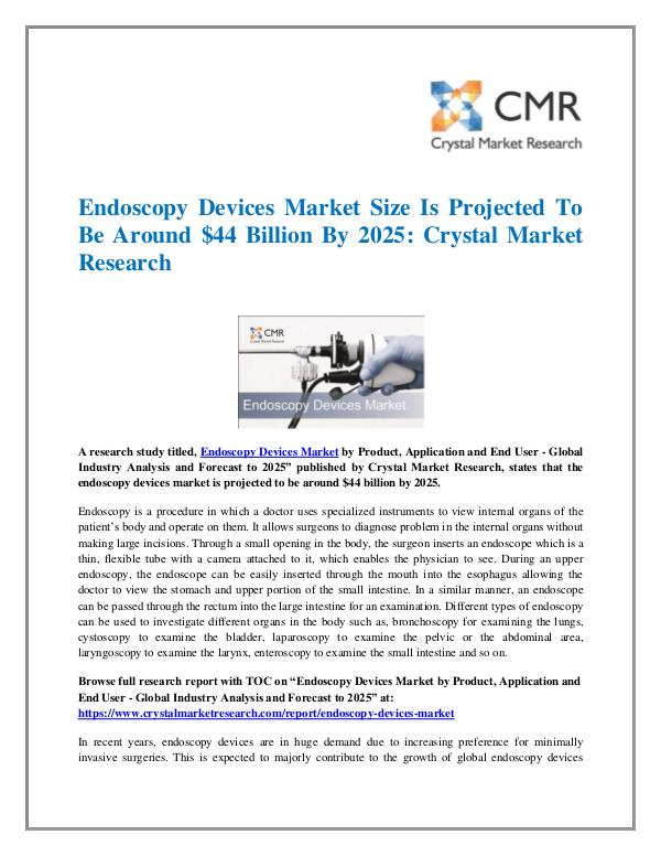 Market Research Reports- Consulting Analysis Crystal Market Research Endoscopy Devices Market