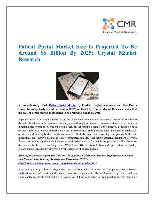 Market Research Reports- Consulting Analysis Crystal Market Research Patient Portal Market