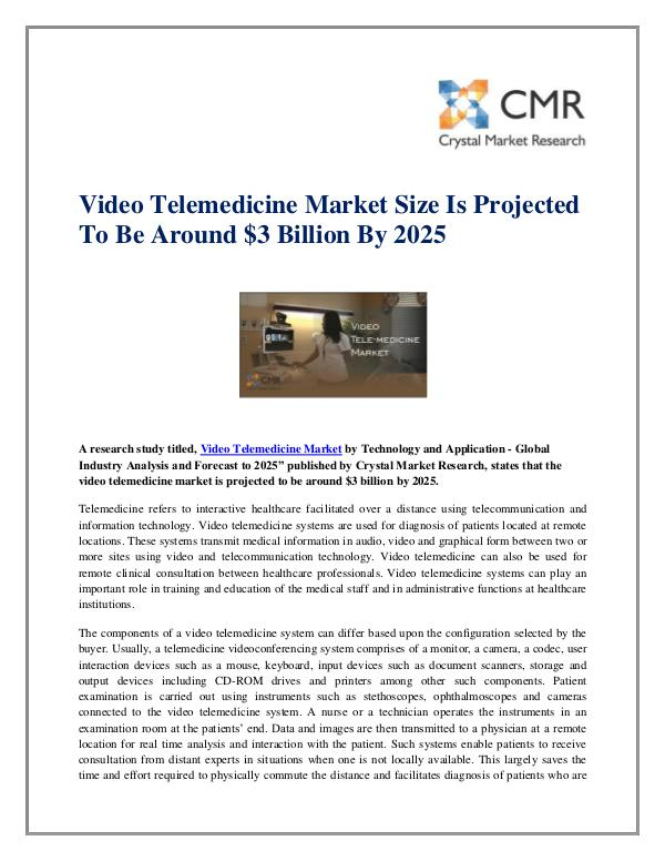 Market Research Reports- Consulting Analysis Crystal Market Research Video Telemedicine Market