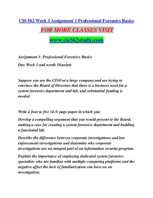CIS 562 STUDY   Great Stories/cis562study.com CIS 562 STUDY   Great Stories/cis562study.com