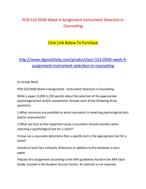 PCN 523 0500 Week 4 Assignment Instrument Selection in