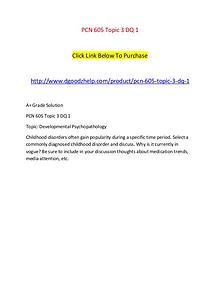 PCN 605 Topic 3 DQ 1