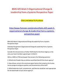 BSHS 425 Week 5 Organizational Change & Leadership from a Systems Per