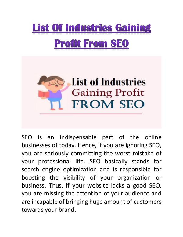 List of Industries Gaining Profit from SEO List of Industries Gaining Profit from SEO