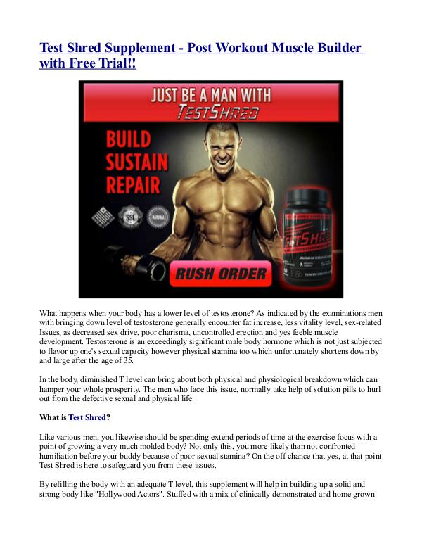 Test Shred Supplement - Post Workout Muscle Builder with Free Trial!! Test Shred Supplement - Post Workout Muscle Builde