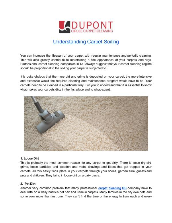 Benefits of Professional Carpet Cleaning Service in DC Understanding Carpet Soiling