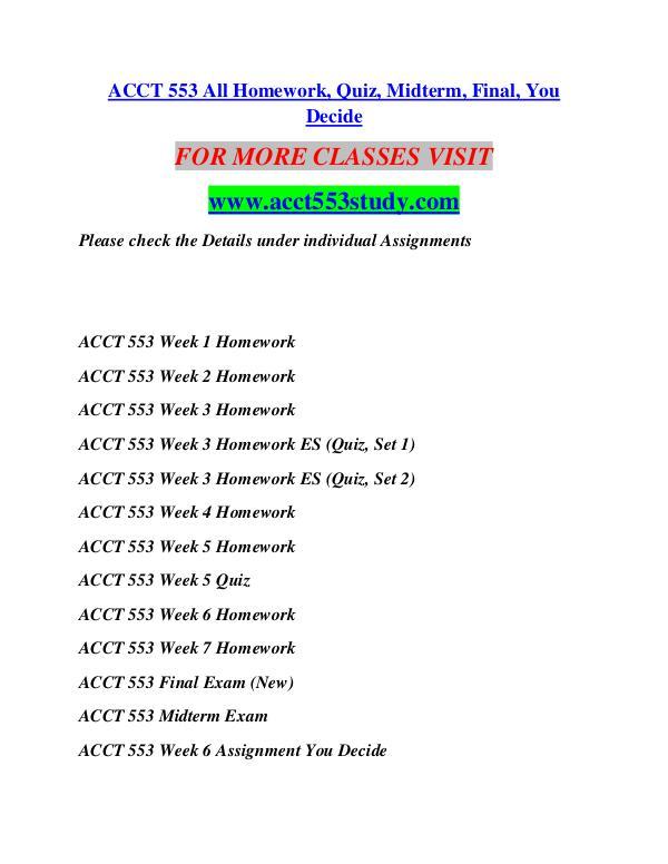 ACCT 553 STUDY  Start With a Dream /acct553study.com ACCT 553 STUDY  Start With a Dream /acct553study.c