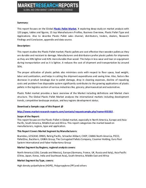 Plastic Pallet Market by Top 3 Manufacturers (Brambles, LOSCAM