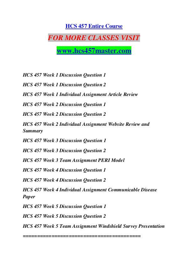 HCS 457 MASTER Keep Learning /hcs457master.com HCS 457 MASTER Keep Learning /hcs457master.com