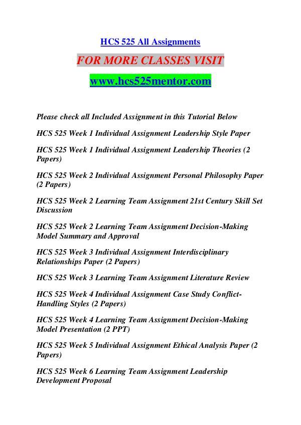 HCS 525 MENTOR Keep Learning /hcs525mentor.com HCS 525 MENTOR Keep Learning /hcs525mentor.com