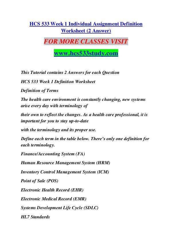 HCS 533 STUDY Keep Learning /hcs533study.com HCS 533 STUDY Keep Learning /hcs533study.com