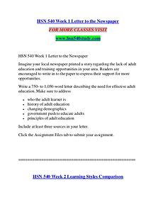 HSN 540 STUDY Imagine Your Future /hsn540study.com