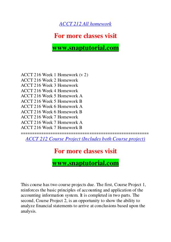 ACCT 212 help A Guide to career/Snaptutorial ACCT 212 help A Guide to career/Snaptutorial