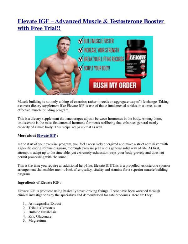 Elevate IGF – Advanced Muscle & Testosterone Booster with Free Trial! Elevate IGF – Advanced Muscle & Testosterone Boost