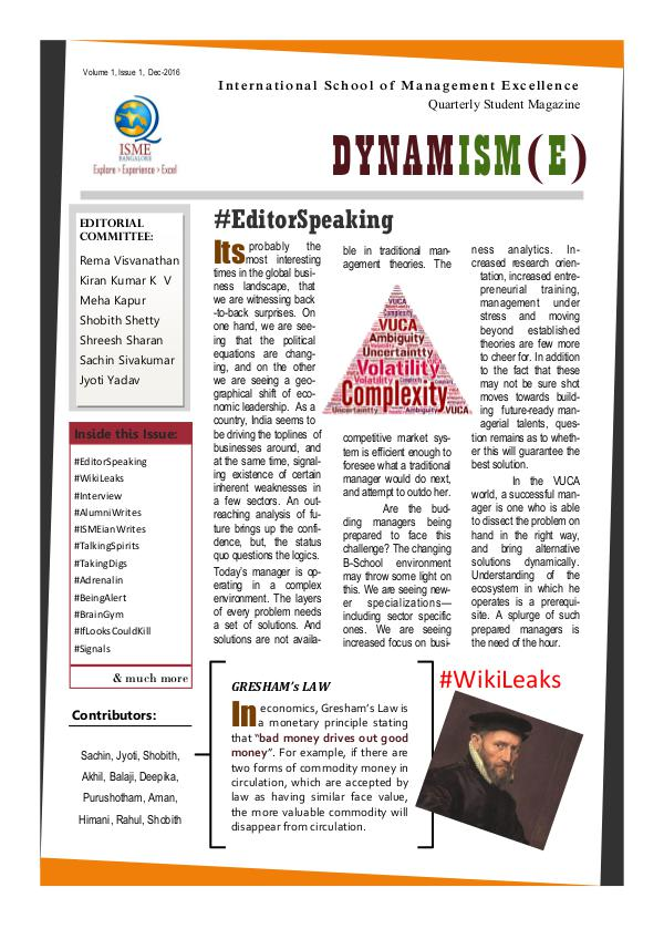 DYNAMISM(E) - Biannual Student Magazine DYNAMISM(E) - Dec-2016
