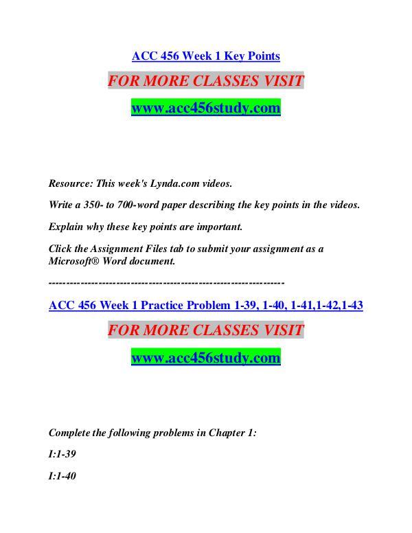 ACC 456 STUDY Start With a Dream /acc456study.com ACC 456 STUDY Start With a Dream /acc456study.com