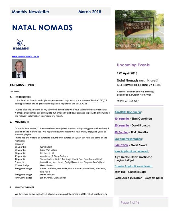 NATAL NOMADS Golf Club Monthly issue Monthly Newsletter Amanzimtoti  22 March 2018
