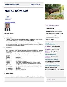 NATAL NOMADS Golf Club Monthly issue