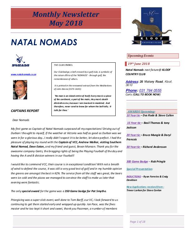 NATAL NOMADS Golf Club Monthly issue Monthly Newsletter Victoria Country Club  8 June 2