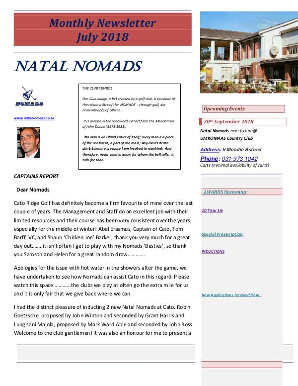 NATAL NOMADS Golf Club Monthly issue Monthly Newsletter Cato Golf Club July 2018