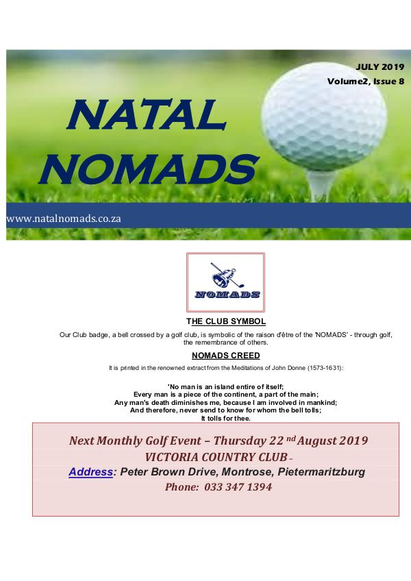NATAL NOMADS Golf Club Monthly issue Newsletter Cotswold Downs Golf Club Volume 2 Issue