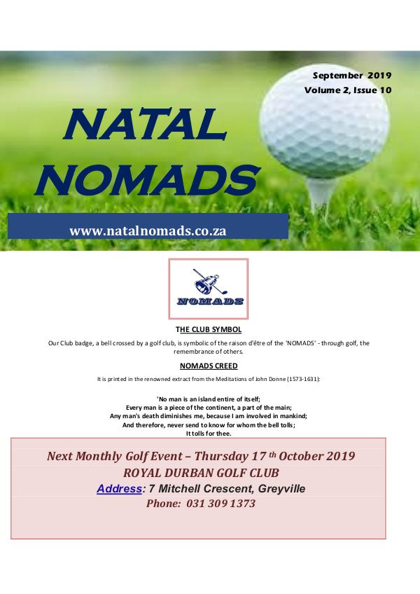 NATAL NOMADS Golf Club Monthly issue Newsletter Umkomaas Golf Club Volume 2 Issue 10 20