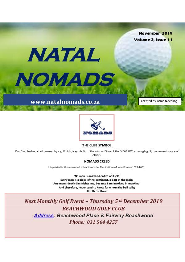 NATAL NOMADS Golf Club Monthly issue Newsletter Cato Golf Club Volume 2 Issue 11 2019