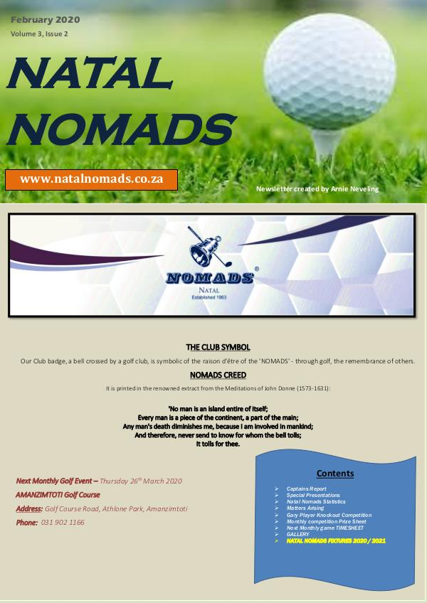 NATAL NOMADS Golf Club Monthly issue Natal Nomads Newsletter Windsor Park Golf Club Feb