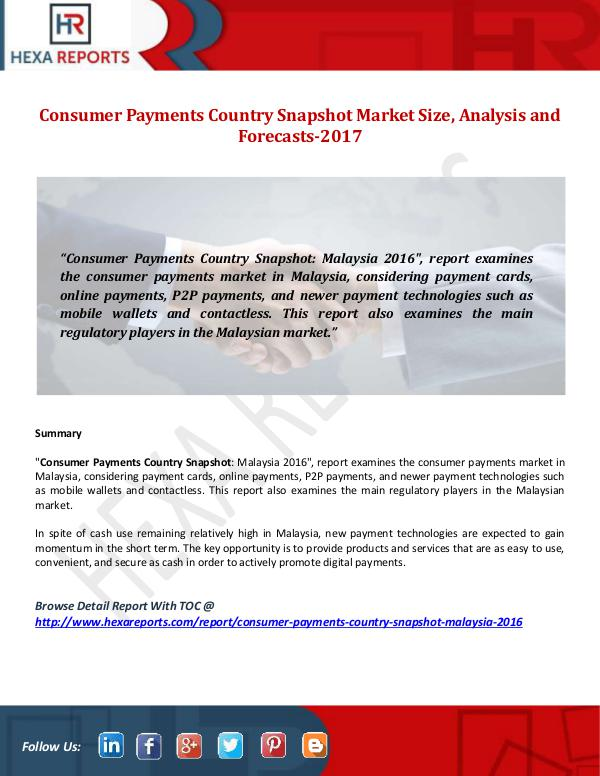 Hexa Reports Consumer Payments Country Snapshot Market