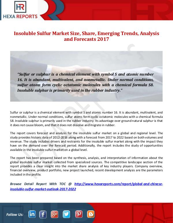 Hexa Reports Insoluble Sulfur Market