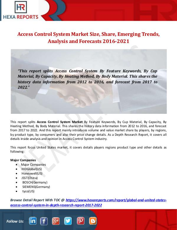 Hexa Reports Access Control System Market Size, Share, Emerging