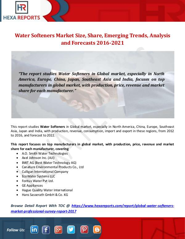Hexa Reports Water Softeners Market Size, Share, Emerging Trend