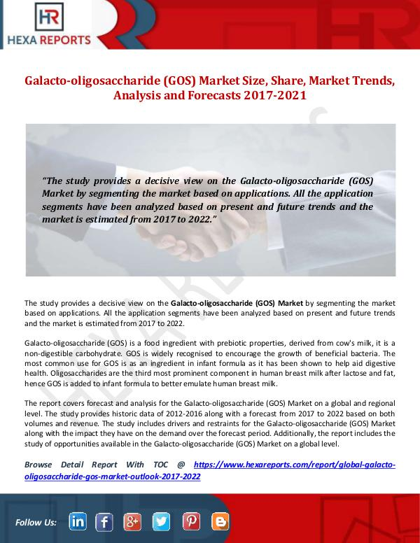 Galacto-oligosaccharide (GOS) Market Size, Share,