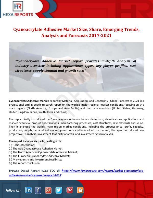 Cyanoacrylate Adhesive Market Size, Share, Emergin